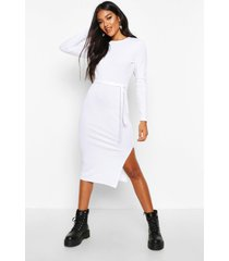 rib crew neck belted midi dress, white