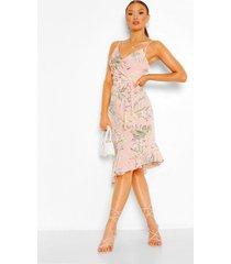 floral wrap ruffle hem midi dress, soft pink