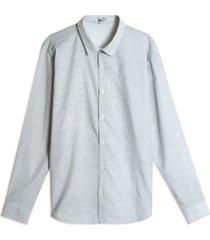 camisa estampado x color blanco, talla l