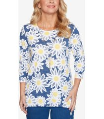 alfred dunner women's missy lazy daisy lacy daisies top
