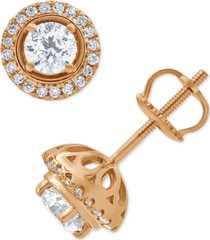 diamond halo stud earrings (3/4 ct. t.w.) in 14k rose gold