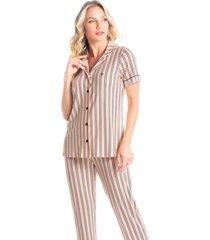 pijama abotoado longo listrado esther