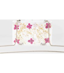 women's emilee printed pressed floral clutch in clear by francesca's - size: one size