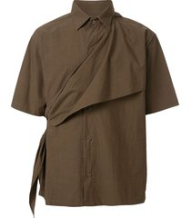 yoshiokubo ripple sash shirt - brown