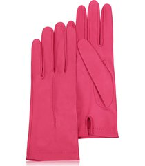 forzieri designer women's gloves, women's hot pink unlined italian leather gloves