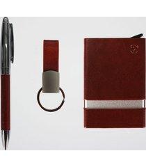 kit executivo porta cartão rfid + chaveiro e caneta