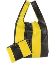 balenciaga m supermarket shopper yellow, black sz: l