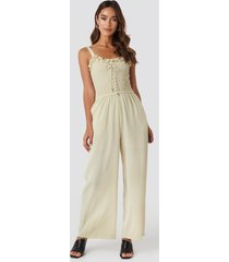 trendyol guipure frill detailed jumpsuit - beige