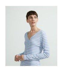blusa de pijama em ribana com manga longa estampa listras | lov | azul | gg