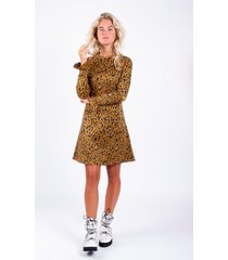 colourful rebel robijn jacquard leopard dress bruin
