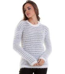 suéter kinara pelinhos listrado feminina