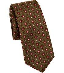 silk square-print tie