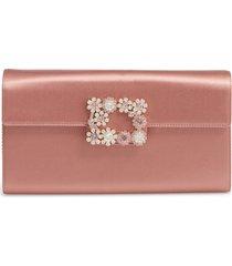 roger vivier flower buckle satin clutch - pink