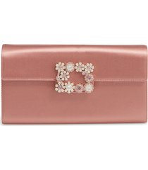 roger vivier flower buckle satin clutch - pink