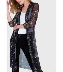 fantasía io kimono estampado negro - calce holgado