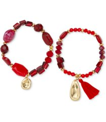 style & co gold-tone 2-pc. set red beaded stretch bracelets, created for macy's