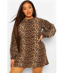 plus wikkel skater jurk met marmer- en tijgerprint, beige