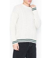 topman off tipped cable tröjor offwhite