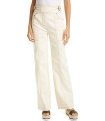 women's ulla johnson albie side belt stretch cotton pants, size 12 - white