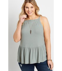 maurices plus size womens solid tiered babydoll top green