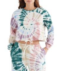 women's lucky brand cool for summer tie dye crop sweatshirt, size large - purple