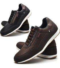 kit 02 pares de sapatãªnis sapato casual juilli 1100l marrom e preto - preto - masculino - couro sintã©tico - dafiti