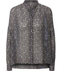 blouse lange mouwen en blaadjesprint van windsor grijs