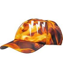neil barrett mirrored bolts flames hat