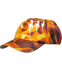 neil barrett mirrored bolts flames hat