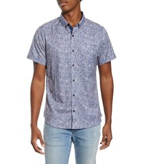 men's 7 diamonds house of love slim fit floral short sleeve button-down shirt