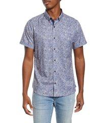 men's 7 diamonds house of love slim fit floral short sleeve button-down shirt, size x-large - blue