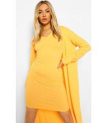 geribbelde jurk met kraag detail en duster jas, orange