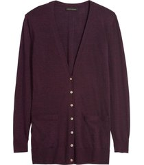 sweater merino cardigan morado banana republic