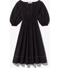 proenza schouler white label puff sleeve poplin dress black 0