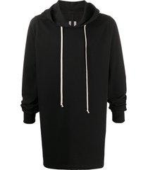 rick owens long line hoodie - black