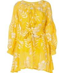 bambah feliz mini shirt dress - yellow