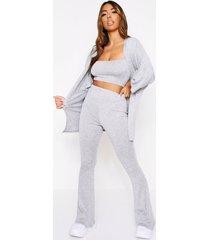 strappy crop top & wide leg cardigan set, grey marl