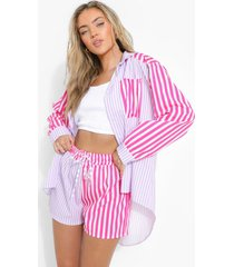 contrasterend gestreept baggy shirt, lilac