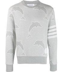thom browne 4-bar dolphin jacquard sweatshirt - grey