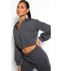 korte mix & match hoodie met zakdetail, houtskool