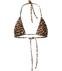 recycled printed bikinitop brun ganni
