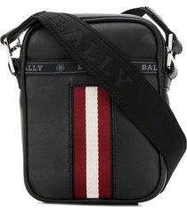 bally stripe detail logo strap messenger bag - black