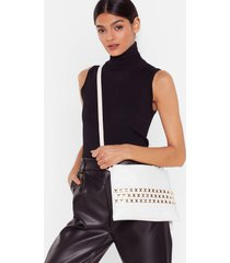 womens faux leather stud crossbody bag - white