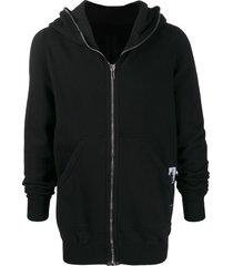 rick owens drkshdw longline zip front hoodie - black