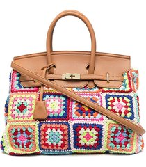 la milanesa lucrezia patchwork-crochet tote - pink
