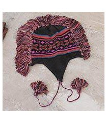 100% alpaca chullo hat, 'pisac night' (peru)