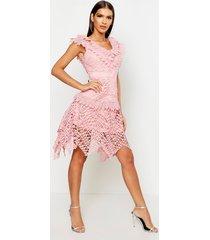 all over crochet skater midi dress, rose