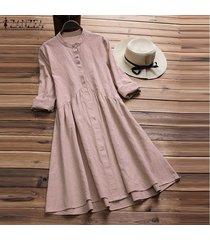 zanzea vestido de camisa de manga larga vintage para mujer mini vestido de una línea de otoño tops plus -rosado