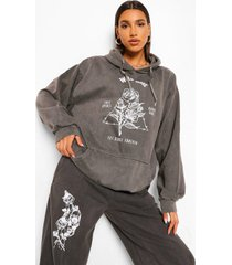 acid wash gebleekte wild rose boyfriend hoodie, grey marl