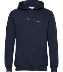 trim hooded sweatshirt hoodie trui blauw makia